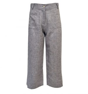 Yerse Denim Wash Wide Cropped Trousers