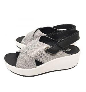 Igi&Co Vitel Pewter Snake Crossover Sandal Wedge 5178400
