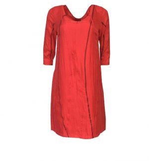 Bianco Levrin Oriana Dela Dress in Burgundy & Pink Stitch T544