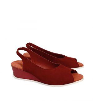 Arche Suryli Feu Kana Nubuck Sandal in Deep Red