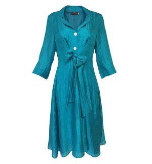 Bianco Levrin Vanilla Cyan Dress in Aqua Green T540