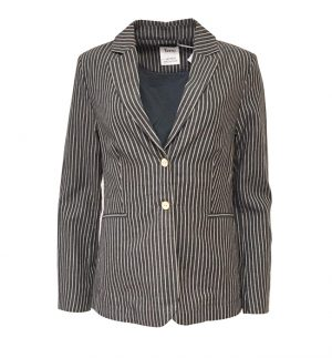Yerse Jacket in Navy & Beige Stripe 32824/100