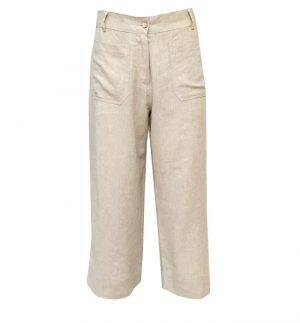 Yerse Beige Linen Style Wide Cropped Trousers