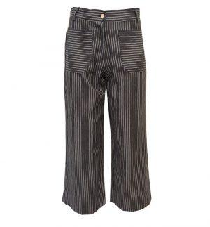Yerse Stripe Wide Cropped Trousers