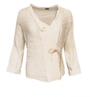 Crea Concept Knit & Tie Jacket in Cream 31062