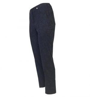 Robell Bella 09 Embroidered Navy Cropped Trousers BELLA 09 5156/54401/69