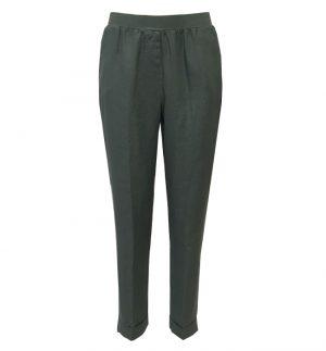 Rosso35 Linen Trousers in Khaki Green N861P/727/01