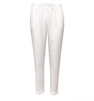 Rosso35 White Linen Turn Up Trousers N861P/701/01