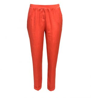 Rosso35 Linen Trousers in Raspberry Orange N861P/774/01
