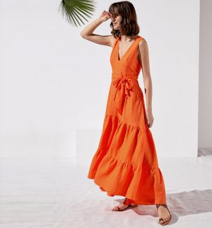 Rosso35 Maxi Sleeveless Dress in Bright Orange N1107V/716