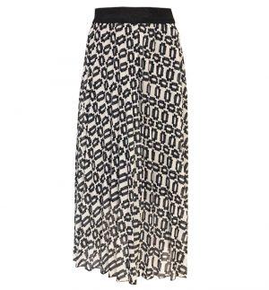Floaty Long skirt in Black & White Geometric Print Senes 34-2456/1890