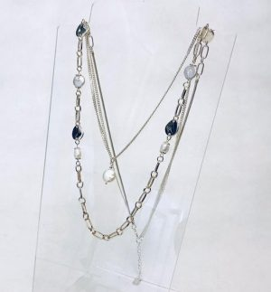 Envy Jewellery Double Delicate Faux Gold Plating Chain & Fresh Water Pearls 116/GD/N