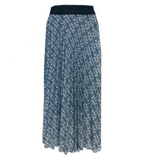 Floaty Long Skirt in Baby Blue & White Geometric Print Senes 34-2457/1890