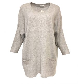 Caroline Cashmere Oversized Tunic Top in Light Grey CAROLIN
