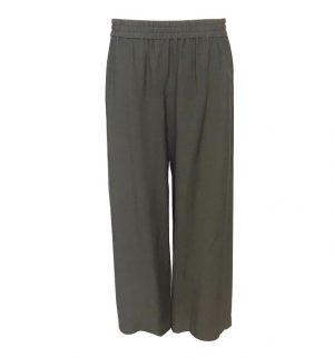 Crea Concept Wide Leg Cropped Trousers in Dark Khaki 31073