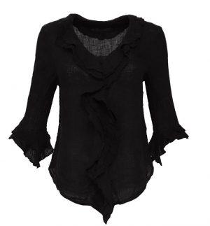 Grizas Black Ruffle Linen Blouse 5435-L6/17