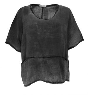 Cheesecloth Cropped Square Cut Top in Washed Out Grey Obsession 1161