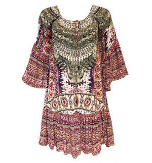 Inoa Peruvian Collection Gypsy Dress in Multicolour Print 1810-0