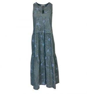 Rosso35 Sleeveless Long Dress in Light Blue Flower Print S5180V/327