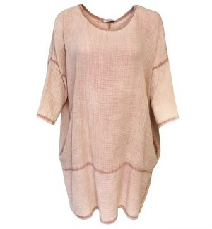Cheesecloth Tunic Top in Dusty Pink Obsession 1165