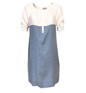 Rosso35 Linen Day Dress in Blue & White N1148V-01/07