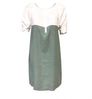 Rosso35 Linen Day Dress in Sage & White N1148V-01/24