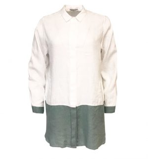 Rosso35 Linen Shirt in Sage & White N11149B-01/24