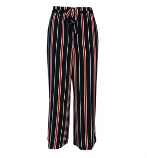 Cropped Wide Leg Trousers in Black, Red & Cream Stripe 51437-54905/40