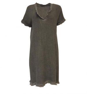 Grey Shift Midi Dress with Frayed Hem OBSESSION 1087