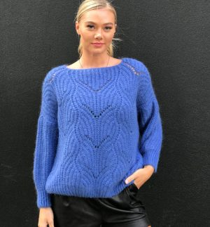 Angie Blue Pointelle Sweater