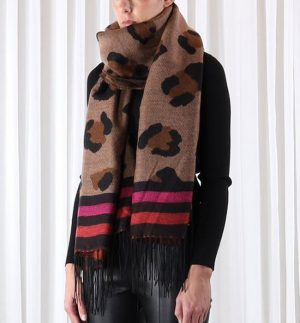 Rino & Pelle Axin Leopard Pink Scarf
