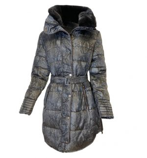 Rino & Pelle Blush Deep Grey Snake Long Padded Coat