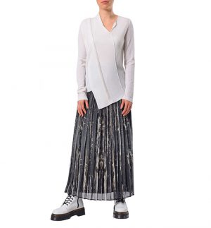 Crea Concept Pleated Patterned Skirt