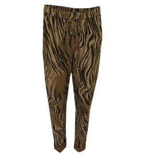 Beige Black Print Trousers