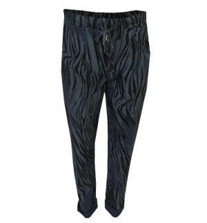 Blue Black Leopard Print Trousers