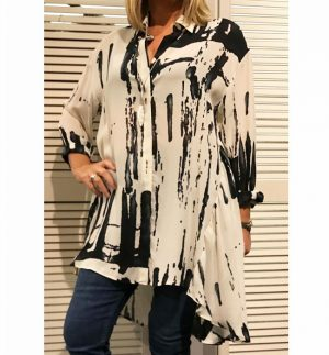 Q Neel Abstract Print Oversized Georgette Shirt